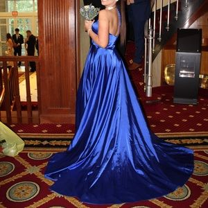 Sherri Hill Royal Blue Satin Prom Dress Size 8